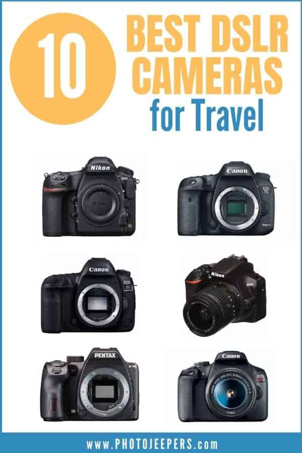 Are you looking for the best DSLR cameras for travel photography? In this guide, we have compiled the best Canon, Nikon, and Pentax DSLRs to buy in 2020. #photography #travel #cameragear #photojeepers