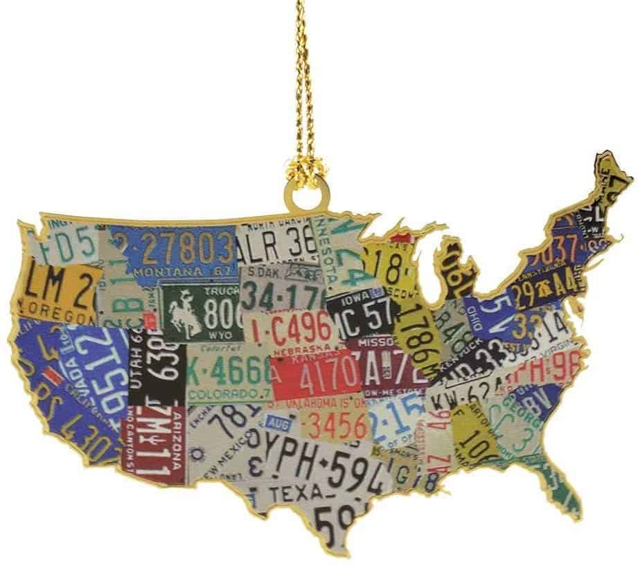 USA license plates Christmas ornament