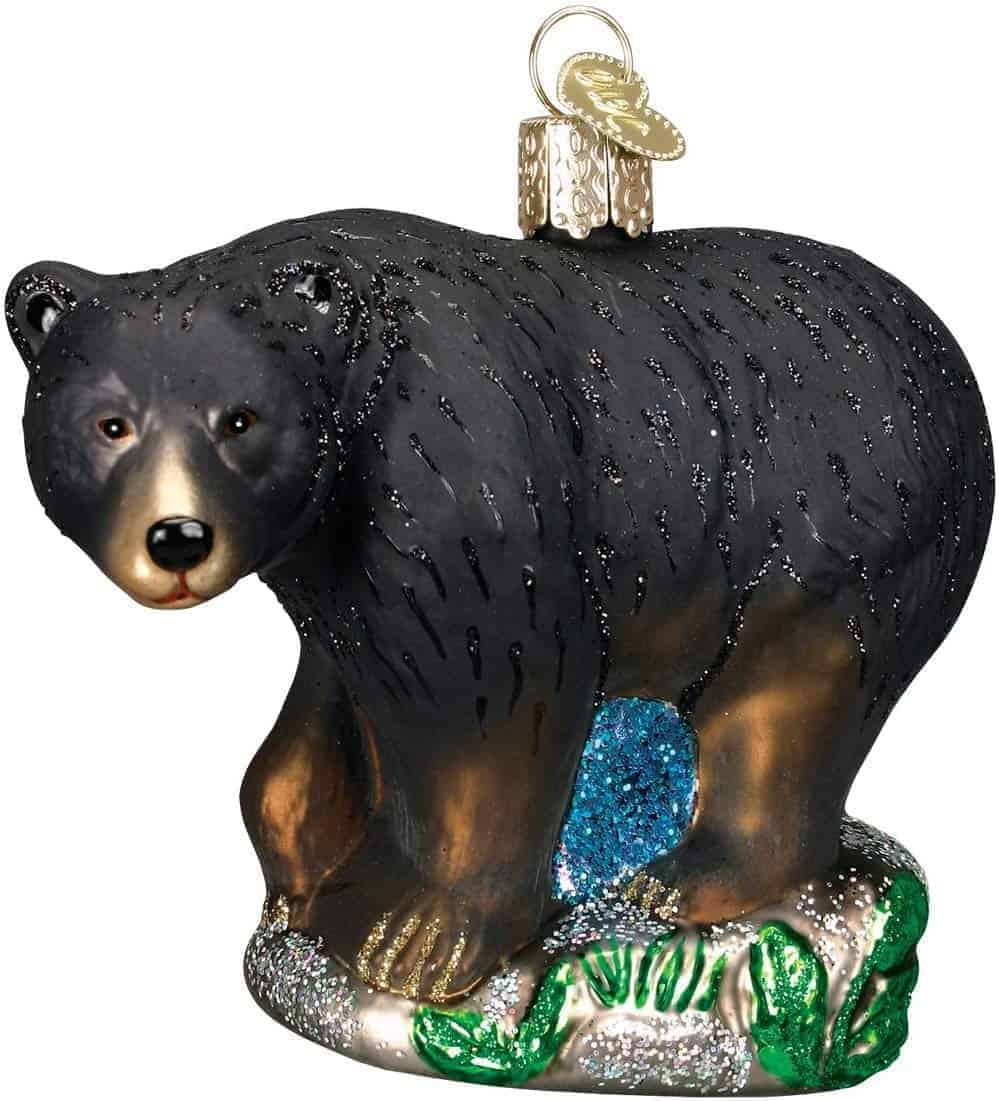 Bear glass blown Christmas ornament