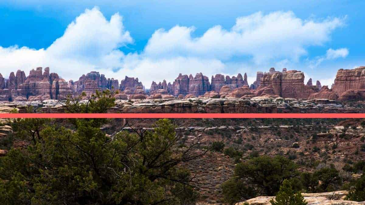 The horizon line can't be readily seen at Needles Canyonlands.