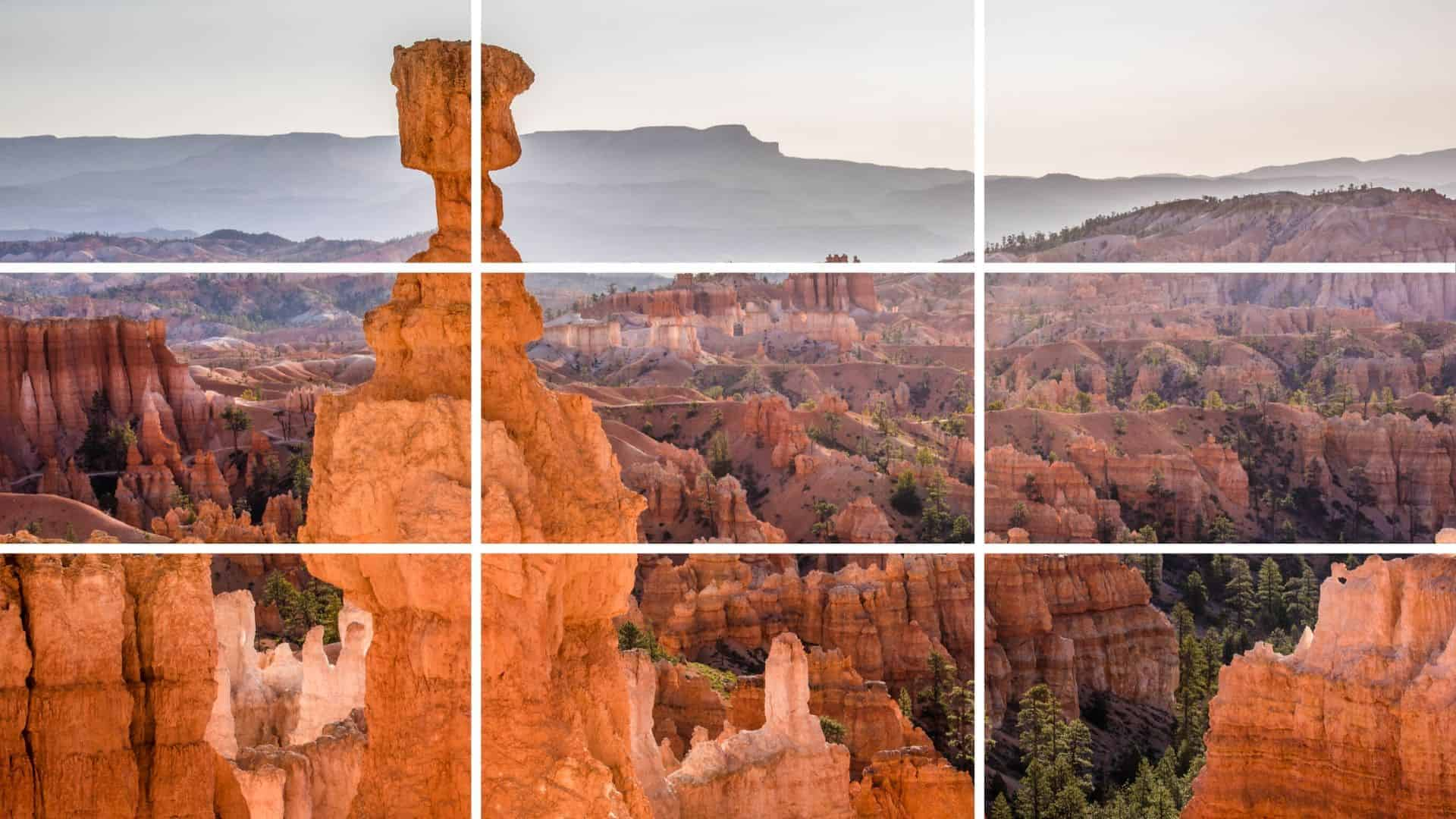 Rule of thirds grid photograping Thor's Hammer at Bryce Canyon.