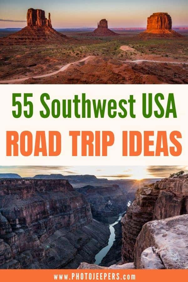55 Southwest USA Road Trip Ideas. Things to see, do and photograph in the American Southwest. Visit national parks, state parks, roadside attractions, and more! #southwest #roadtrip #traveldestination #photojeepers
