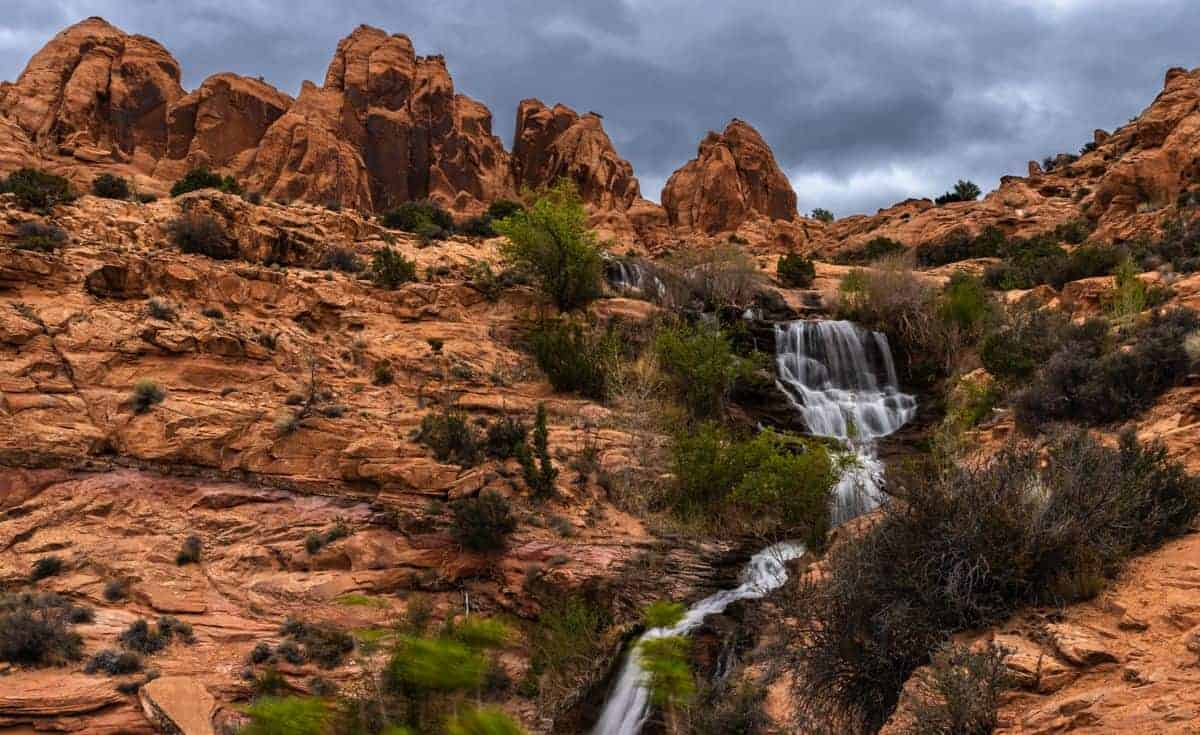 Wide angle image of Faux Falls in Moab, Utah.