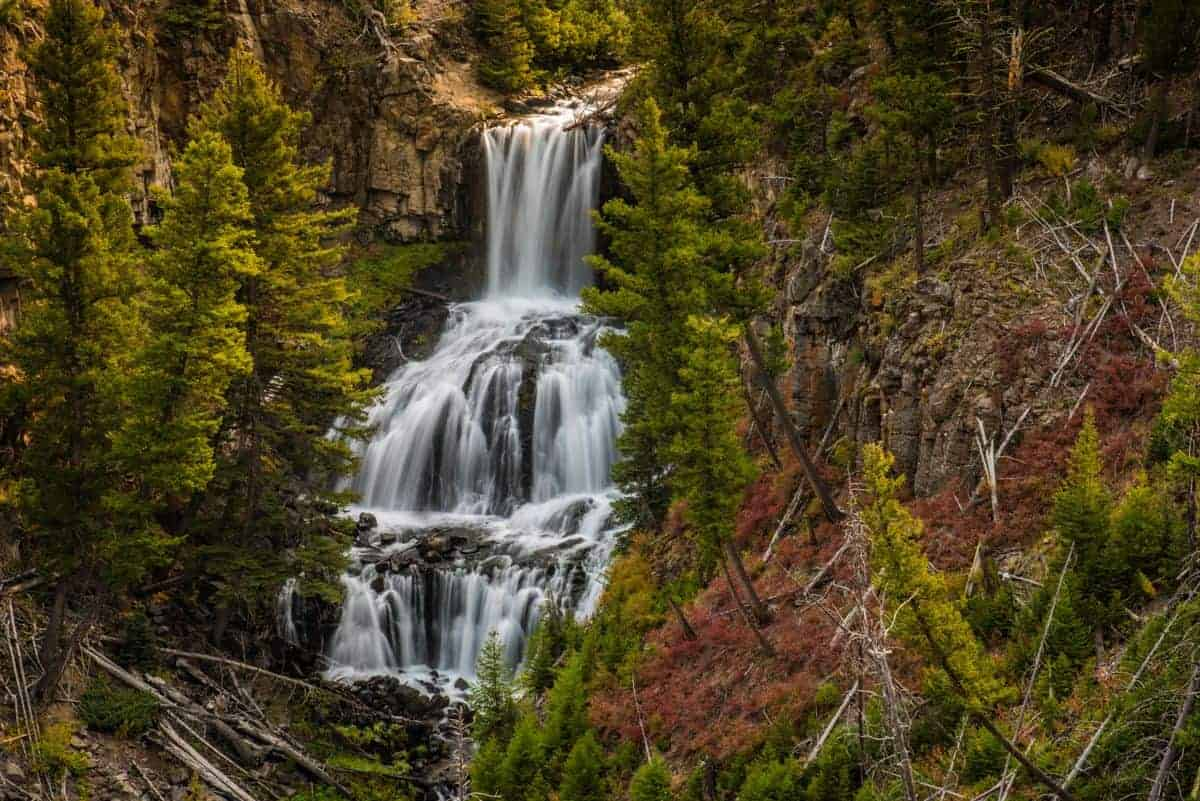Capturing Undine Falls in Yellowstone by filling the frame.