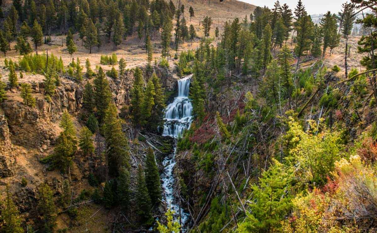 A wide angle view of Undine Falls in Yellowstone.