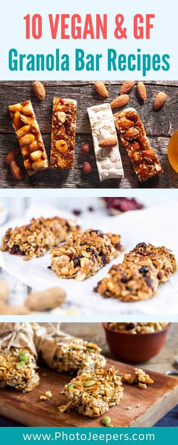 Eating healthy is so important. Here's a list of 10 vegan and gluten free granola bar recipes to help your snack cravings. #healthysnack #vegan #glutenfree #photojeepers