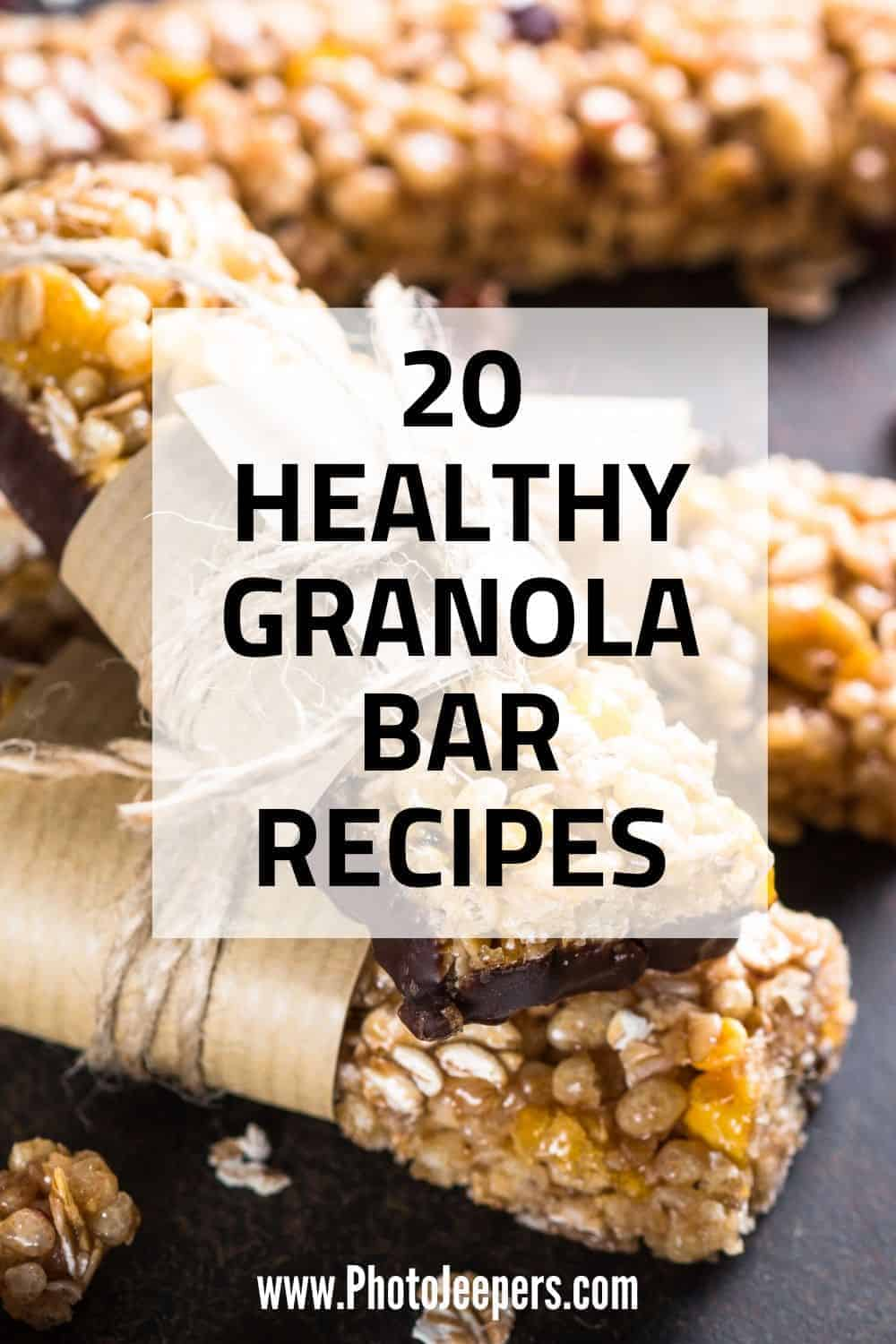 Looking for a healthy road trip snack? Here's a list of 20 healthy granola bar recipes for travel or hiking. Make your own healthy granola bars to cut out the sugar you'll find in store bought bars. Healthy granola bars are perfect for travel, road trip or hiking snacks. #travel #granolabars #healthysnack #photojeepers