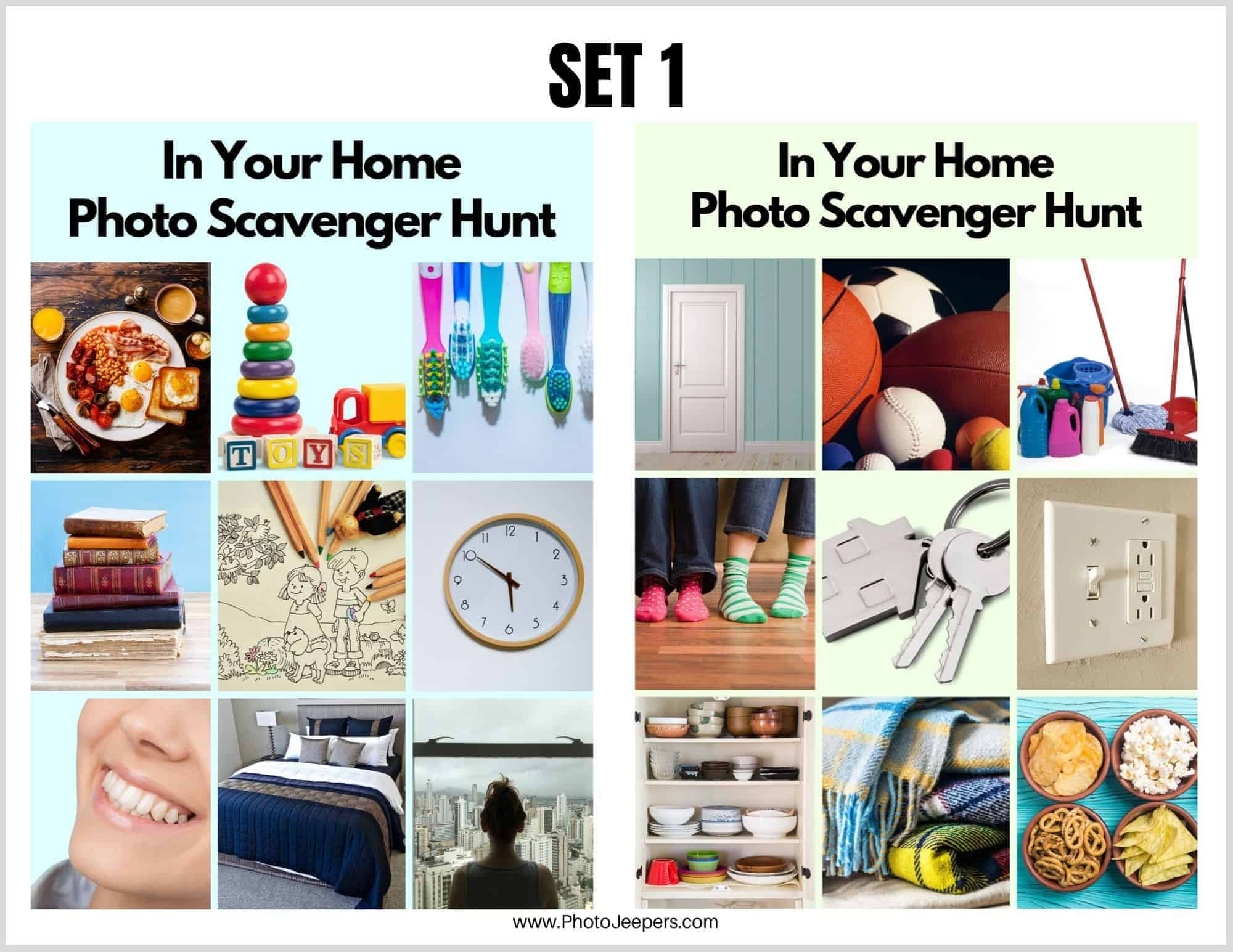 In Your Home Photo Scavenger Hunt Cards for Young Kids