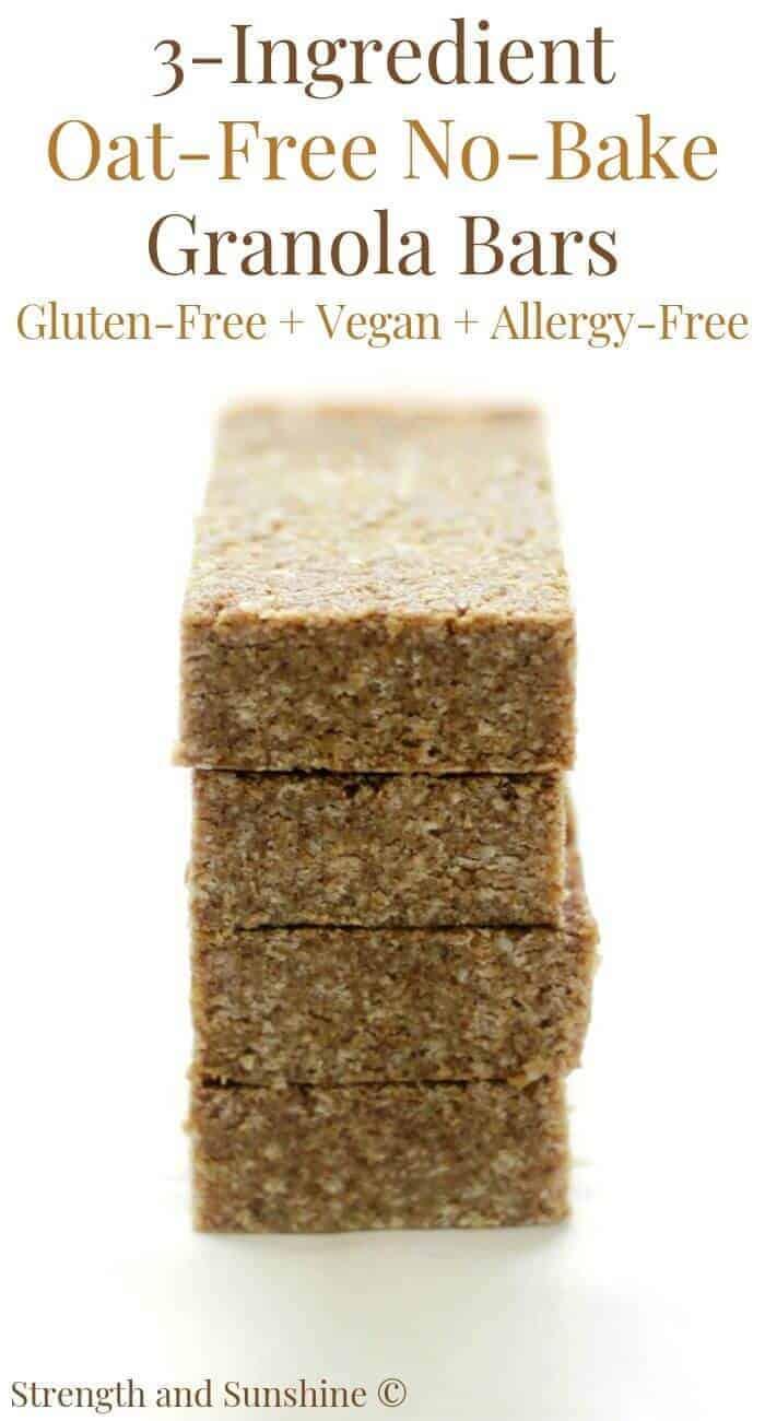 Oat-Free No-Bake Granola Bars (Gluten-Free, Vegan, Allergy-Free)