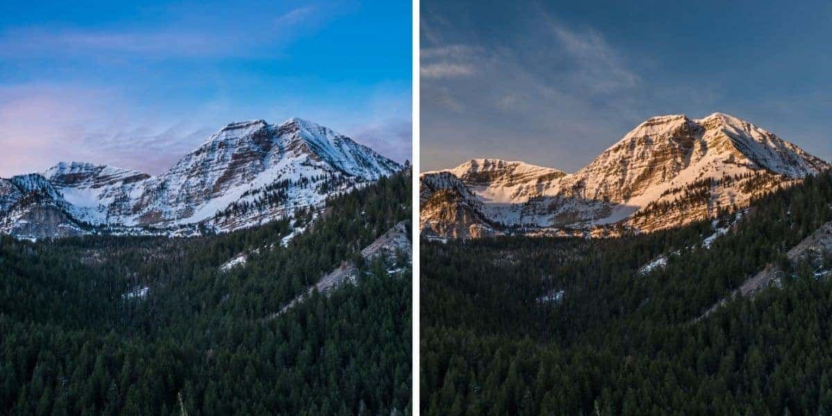 You can see the difference between the blue hour and golden hour light.