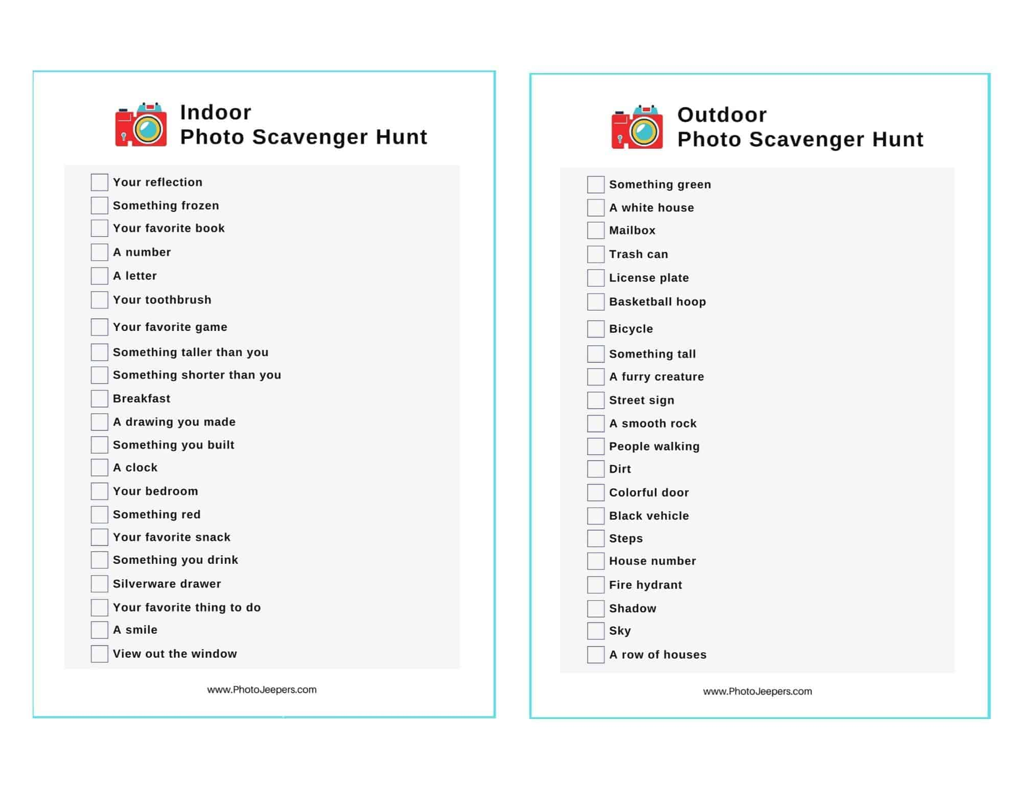 Indoor and outdoor photo scavenger hunt checklist for kids