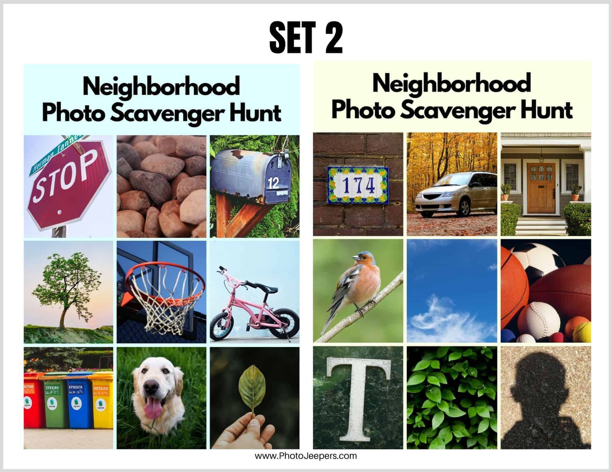 Neighborhood Photo Scavenger Hunt Cards for Young Kids