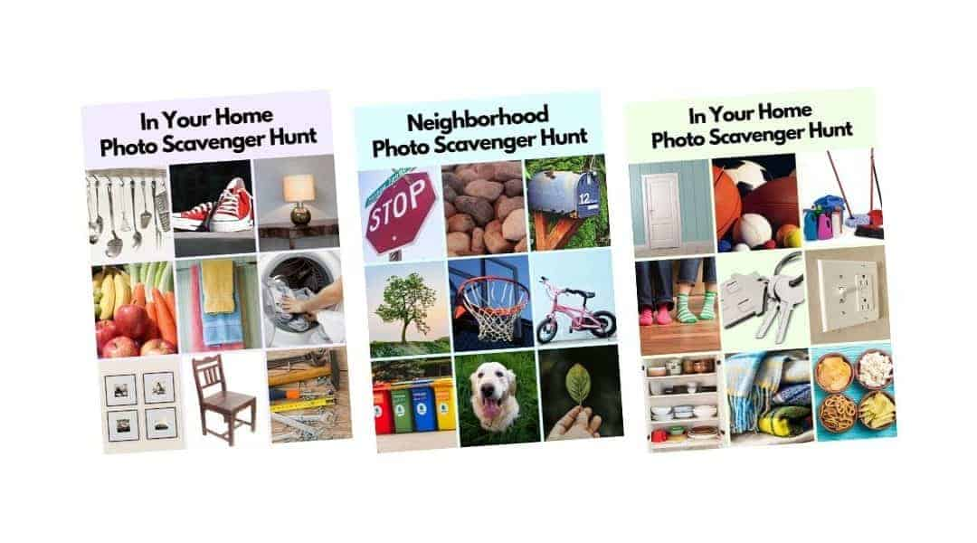 Photo scavenger hunt cards for kids