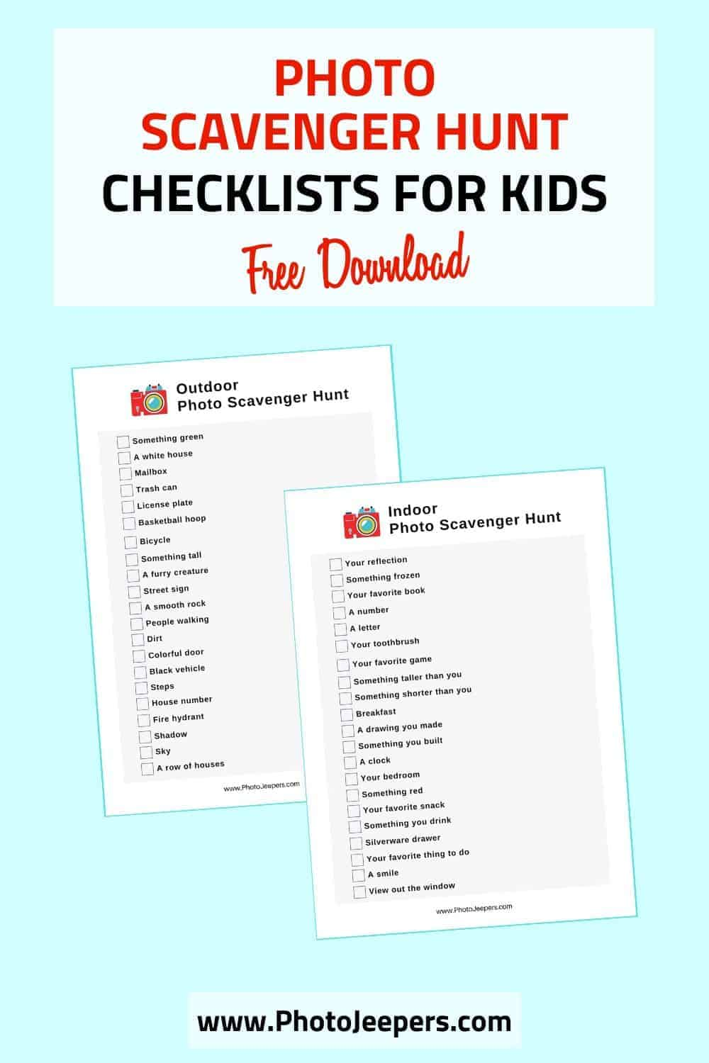 Fun photo scavenger hunt checklists for older kids! Photo scavenger hunts are a fun indoor or outdoor activity for kids! #photography #scavengerhunt #kidactivities #photojeepers