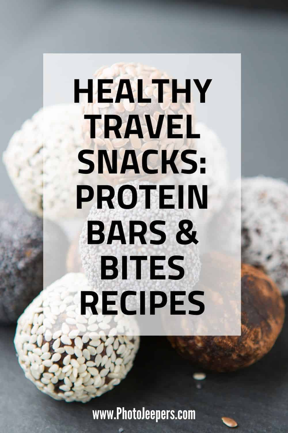Healthy travel snacks are important when traveling or doing outdoor activities. Here's a list of yummy homemade energy bars and bites that are easy to make, easy to transport and easy to eat on the go! #healthysnack #travelsnack #roadtripsnack #photojeepers