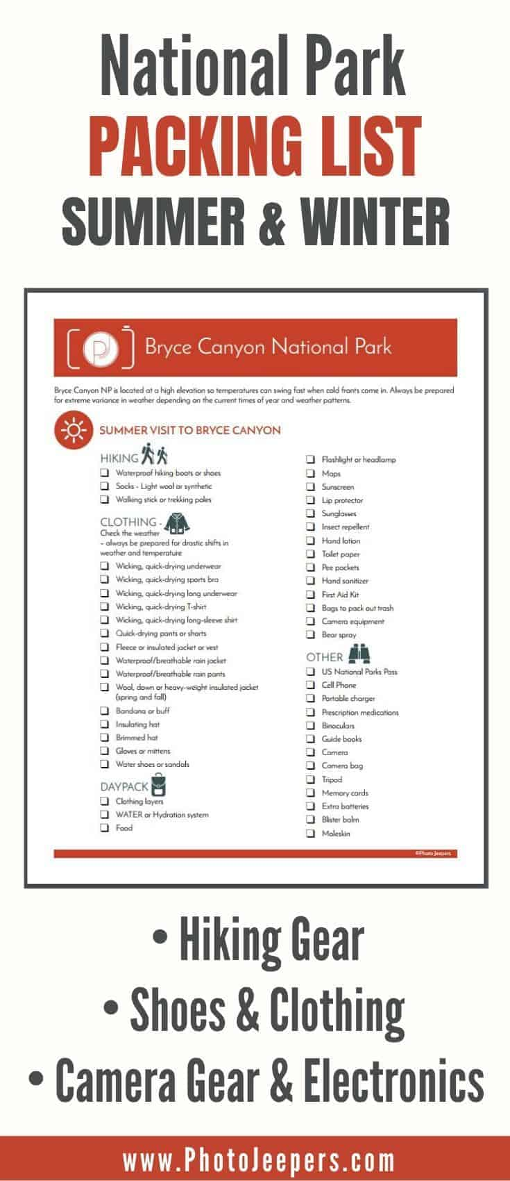 National Park packing list for summer and winter: hiking ear, shoes & clothing, camera gear and electronics #nationalparks #packing #packinglist #photojeepers
