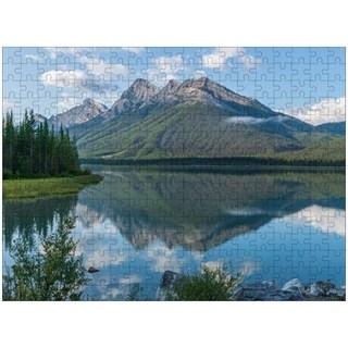 Canadian Rockies mountain lake reflection puzzle