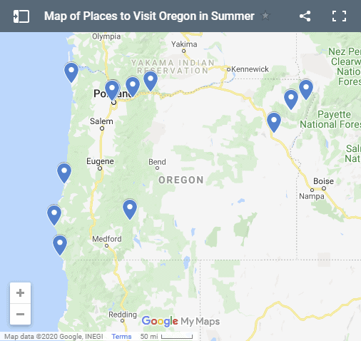 Map of places to visit in Oregon in summer