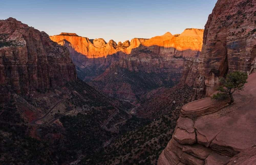 Canyon Overlook trail at sunrise is a fun summer activity at Zion.