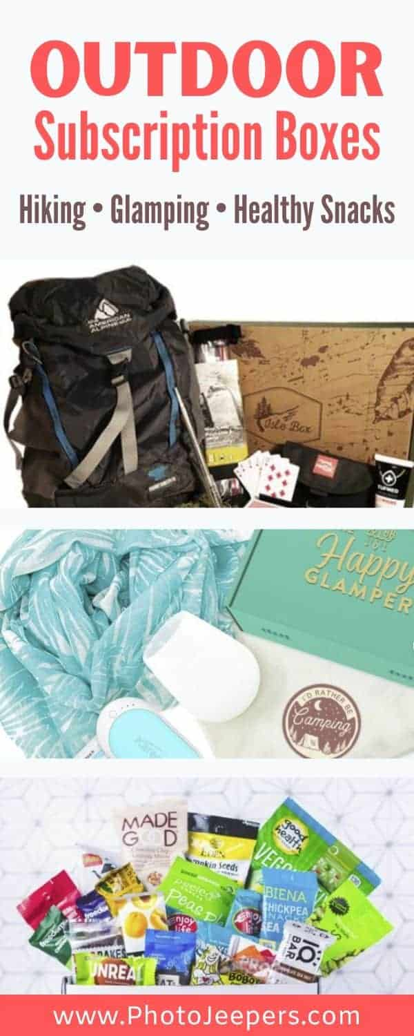 Outdoor subscription boxes: hiking, glamping, healthy snacks and travel journals. If you enjoy surprises, get a monthly subscription box to try outdoor products and gear. #outdoors #hiking #healthysnacks #photojeepers