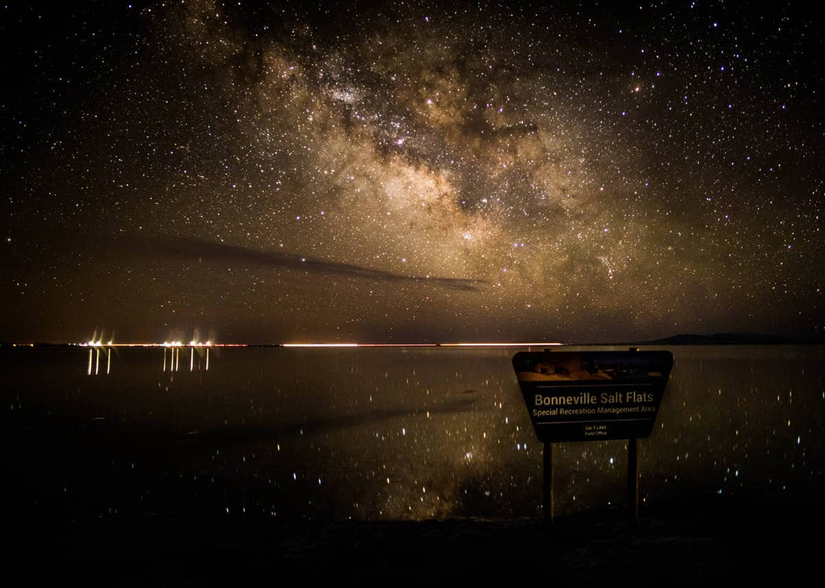 Milky Way reflection in the water at the Bonneville Salt Flats.
