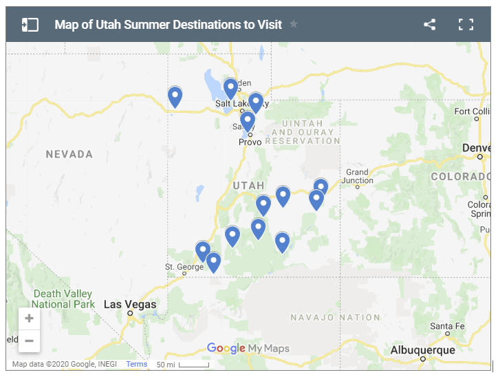 Map of Utah summer destinations to visit
