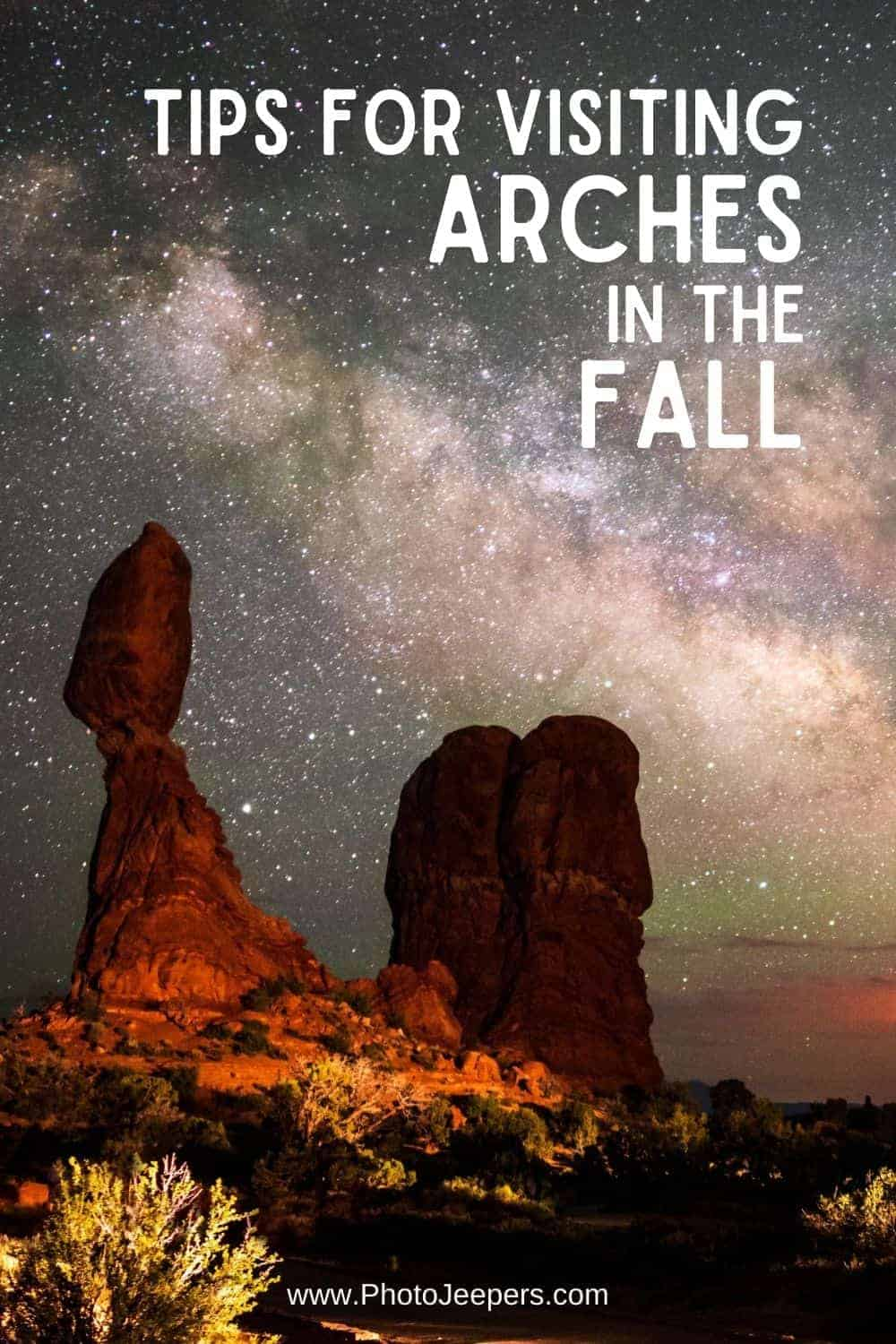 tips for visiting Arches in the Fall