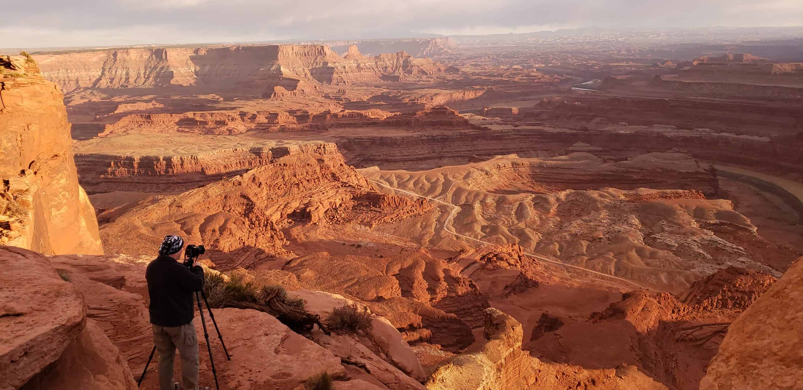 Dave photographing Dead Horse Point at sunset.