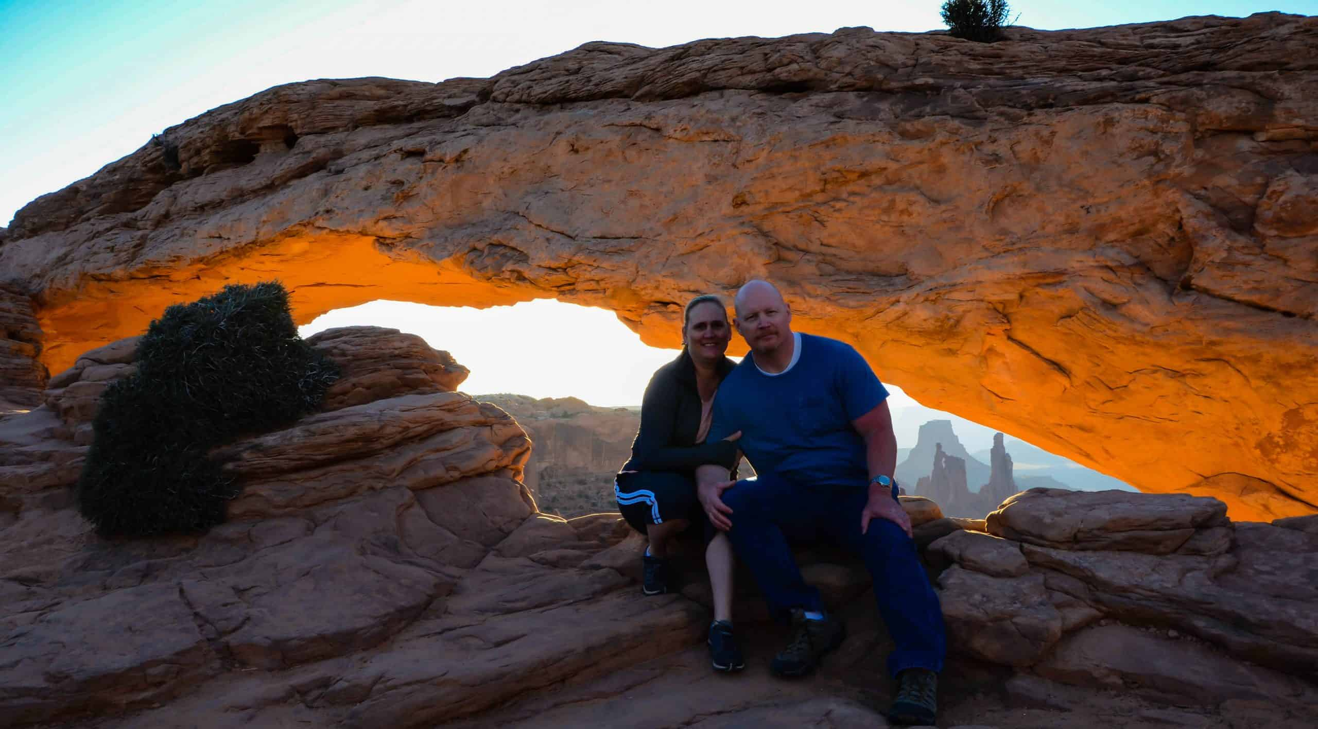Dave and Jamie at Mesa Arch, Canyonlands