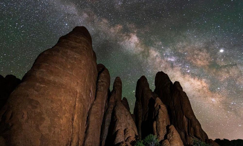 Milky way over fins at Arches National Park