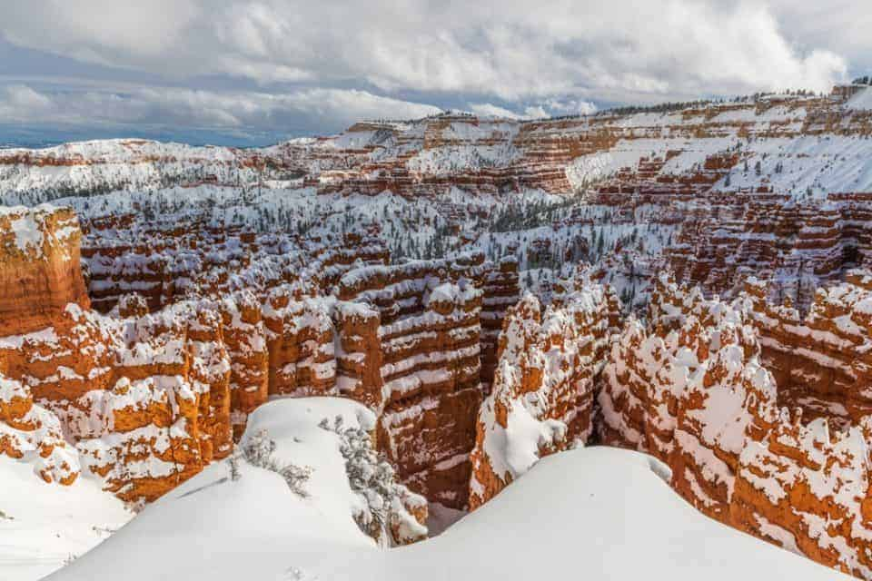 Bryce Canyon hoodoos in the Winter.