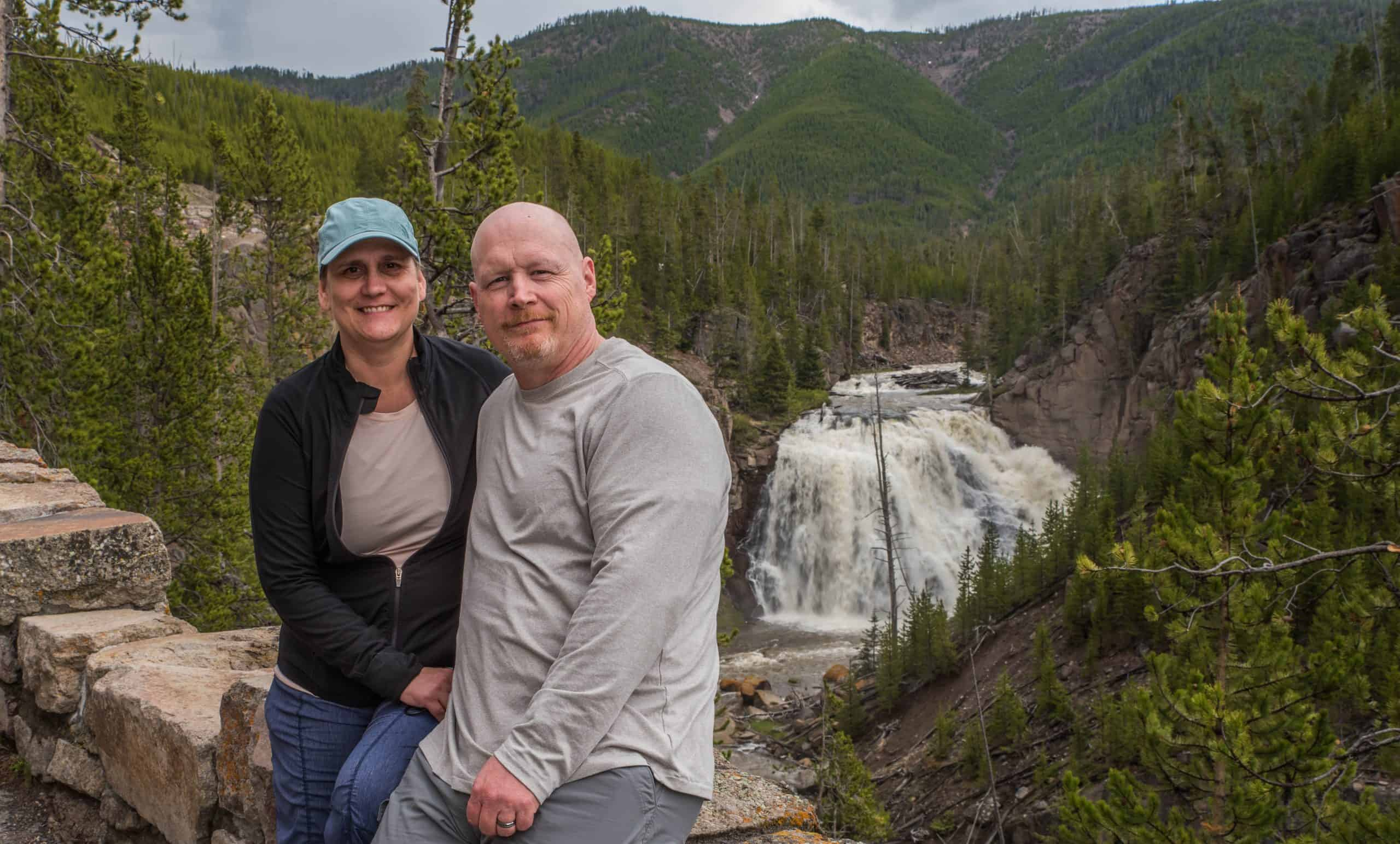 Dave and Jamie at Gibbon Falls in Yellowstone