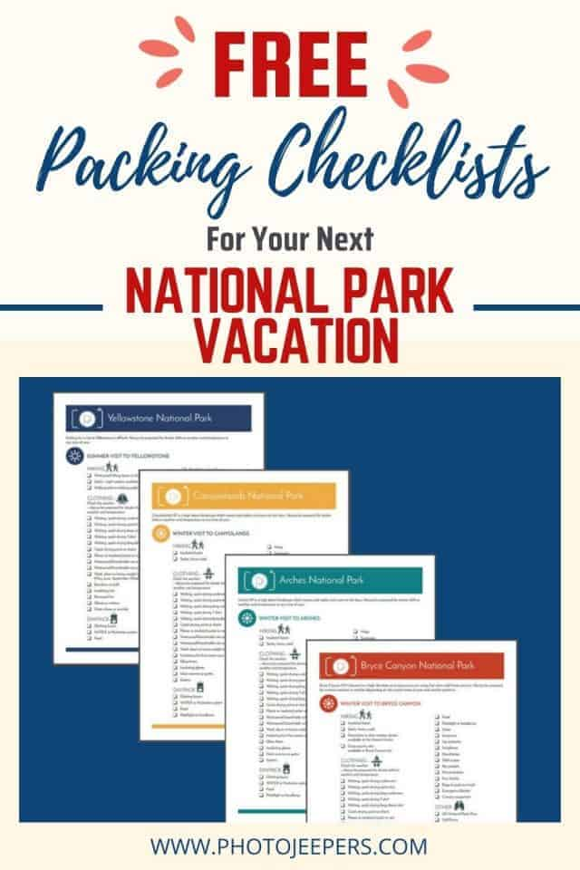 Free Packing Checklist for US National Park Vacation