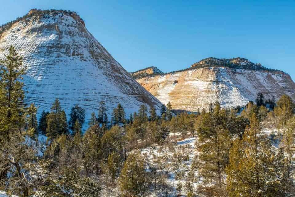 Checkerboard Mesa at Zion National Park with snow in the winter