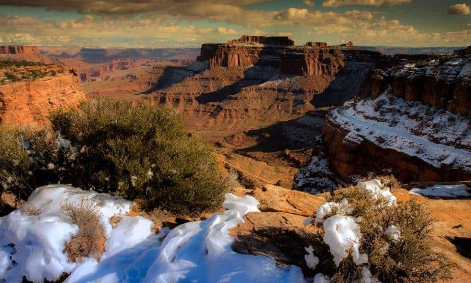 Canyonlands in the winter with snow