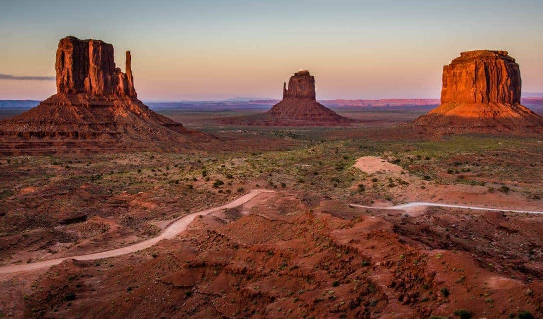 horizontal road line in Monument Valley