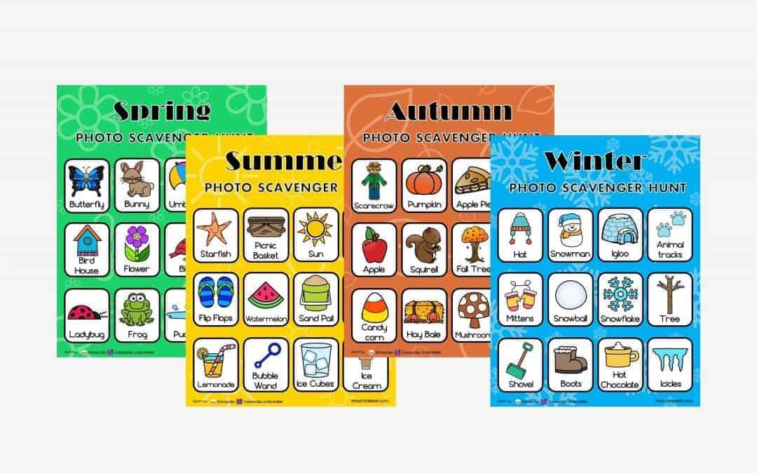 4 seasons scavenger hunt cards for kids