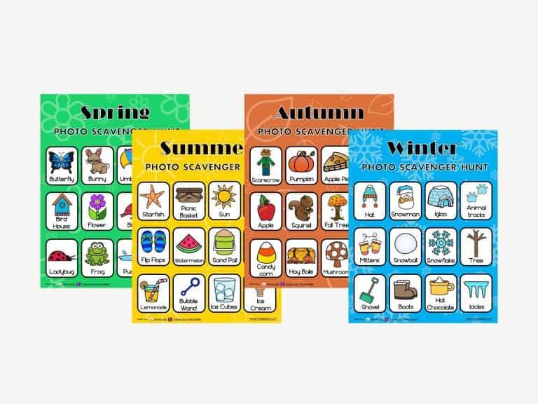 4 Seasons Photo Scavenger Hunt For Kids