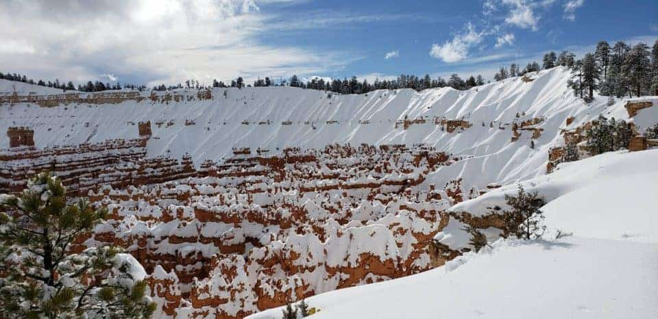 Bryce Canyon National Park in February with snow