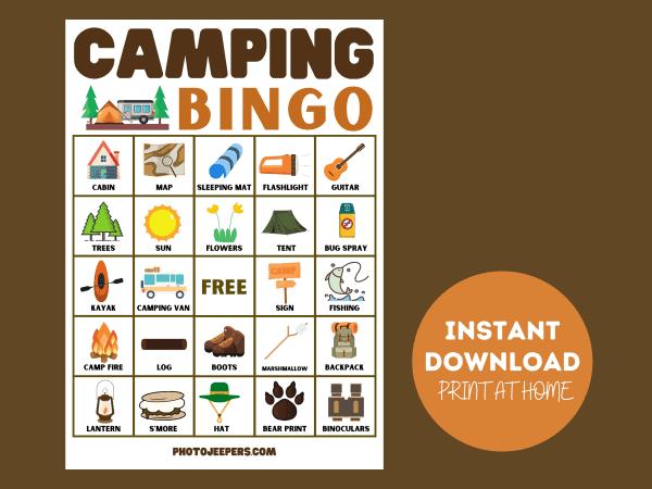 camping bingo instant download