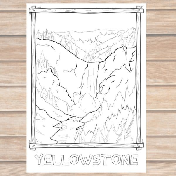 Yellowstone National Park Coloring Page PhotoJeepers mockup