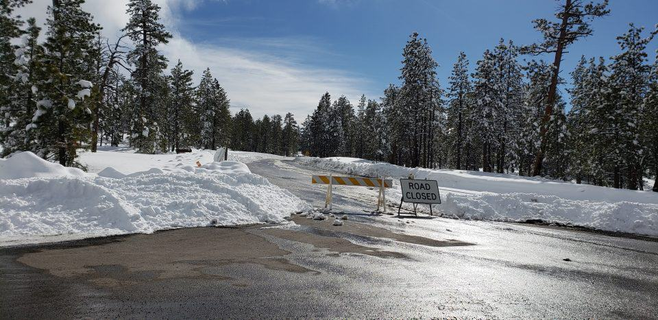 road closed at Bryce Canyon National Park with snow