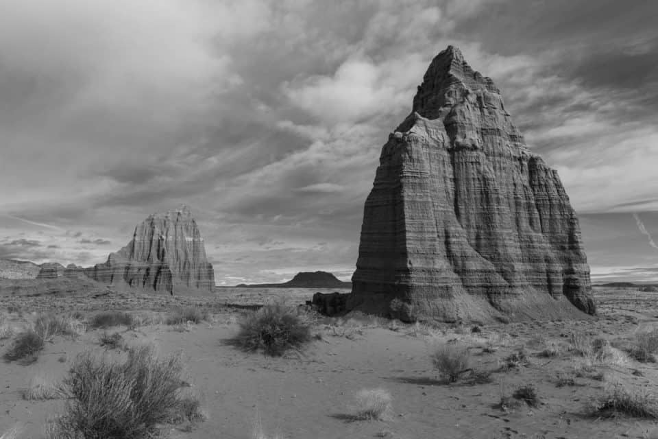 Temple of Sun and moon Cathedral Valley Capitol Reef