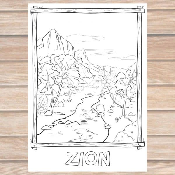 Zion National Park coloring page