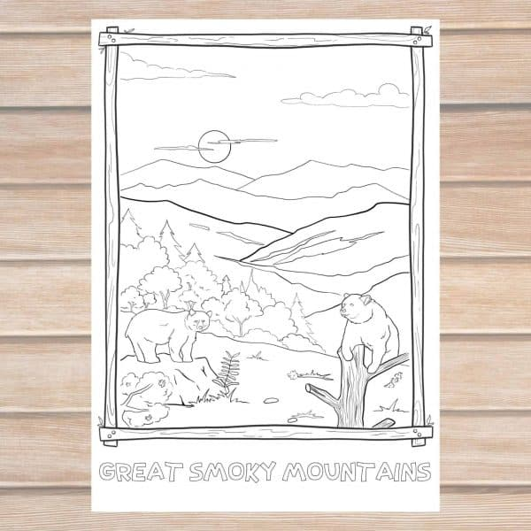 great smoky mountains coloring page