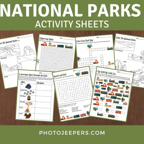 national parks activity sheets