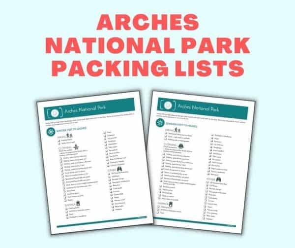 arches national park packing lists
