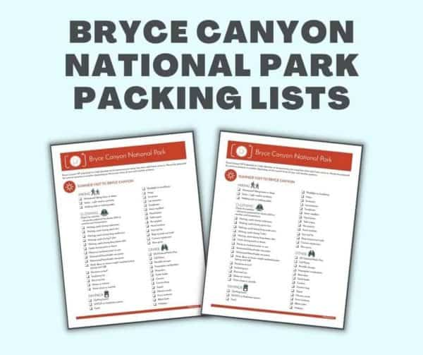 bryce canyon national park packing lists