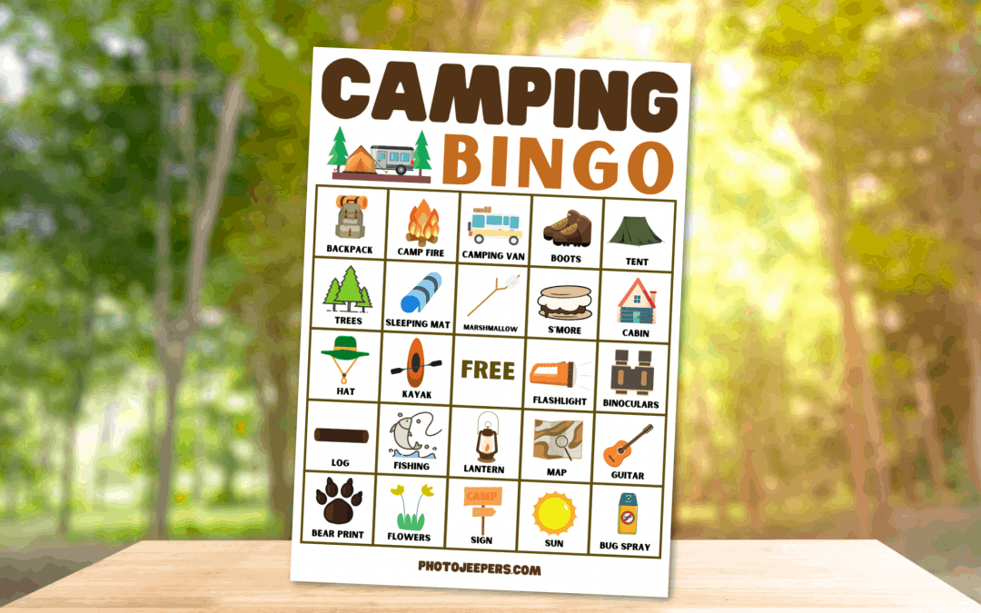 camping bingo printable game by Photo Jeepers