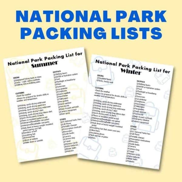national park packing lists